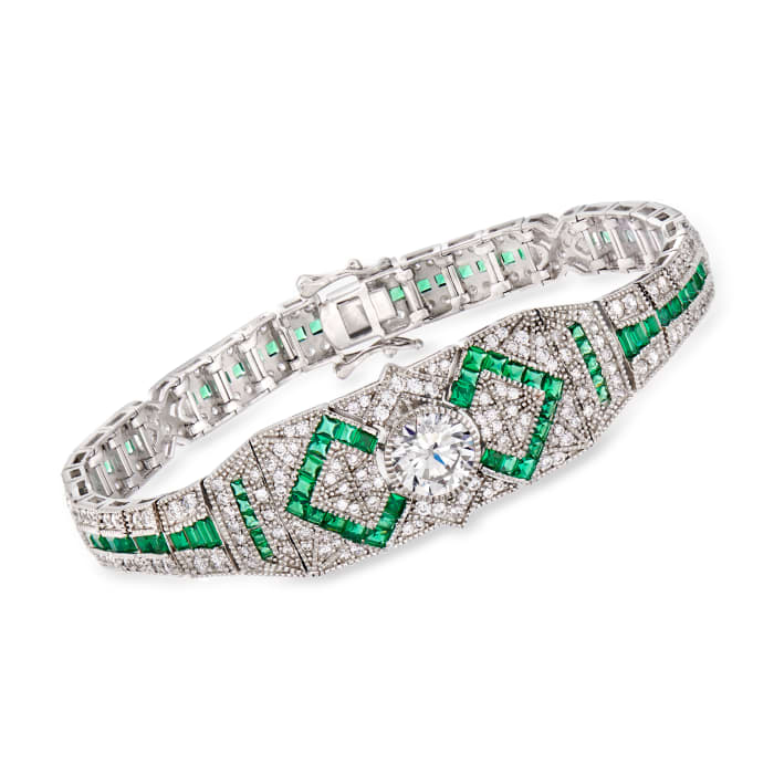 4.50 ct. t.w. CZ and 3.81 ct. t.w. Simulated Emerald Bracelet in Sterling Silver
