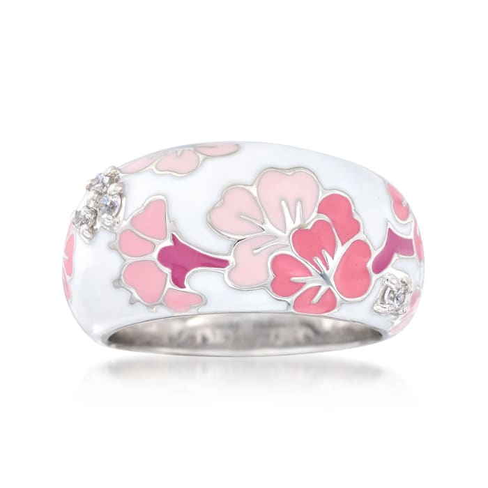 "Belle Etoile ""Constellations: Sakura"" Pink Enamel and .12 ct. t.w. CZ Ring in Sterling Silver"