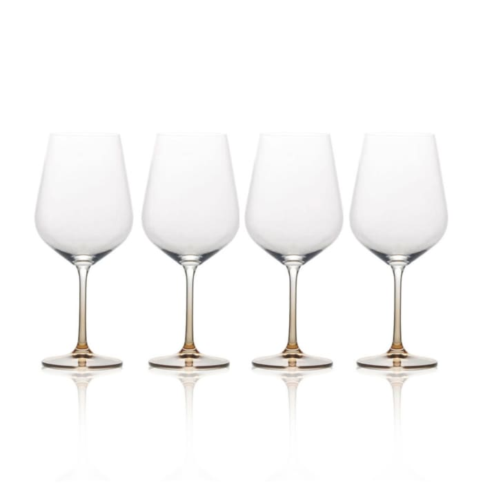 "Mikasa ""Gianna"" Set of 4 Ombre Amber Red Wine Glasses"