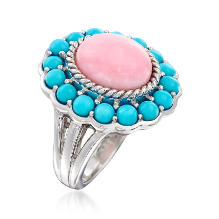 Pink Opal and Sleeping Beauty Turquoise Ring in Sterling Silver