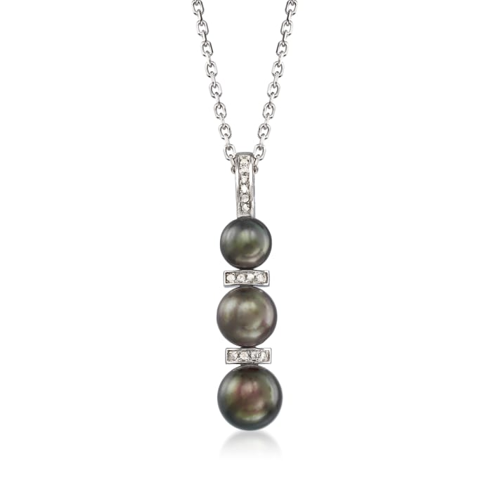 6-8.5mm Black Cultured Pearl and .10 ct. t.w. Diamond Necklace in Sterling Silver