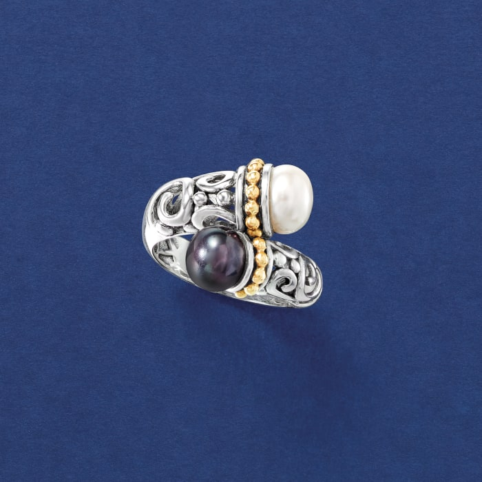 8.5mm White and 7.5mm Black Cultured Pearl Bypass Scrollwork Ring in Sterling Silver with 14kt Yellow Gold