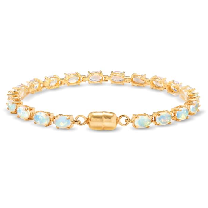Ethiopian Opal Tennis Bracelet in 14kt Gold Over Sterling