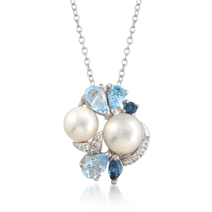 6.5-8mm Cultured Pearl and 1.58 ct. t.w. Multi-Stone Cluster Pendant Necklace in Sterling Silver