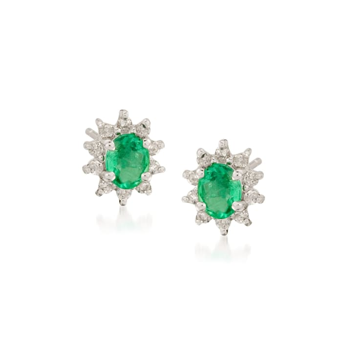 .60 ct. t.w. Emerald and .20 ct. t.w. Diamond Earrings in 14kt White Gold