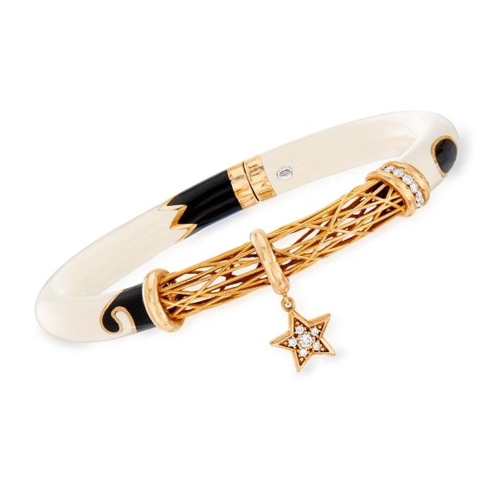 C. 1990 Vintage .35 ct. t.w. Diamond Star Charm Bangle Bracelet in 18kt Rose Gold