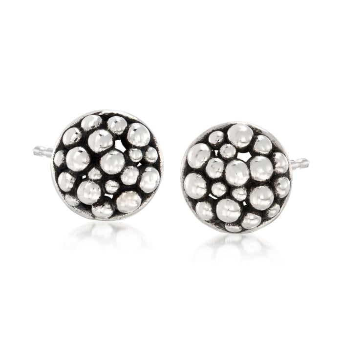 """Zina Sterling Silver """"Raindrop"""" Round Stud Earrings"""
