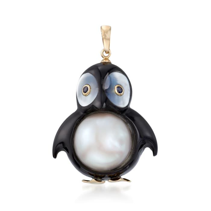 Black Agate, Mother-Of-Pearl and 13mm Cultured Pearl Penguin Pendant with Sapphire Accents and 14kt Yellow Gold