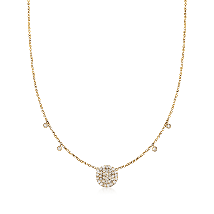 Gabriel Designs .40 ct. t.w. Diamond Circle Station Necklace in 14kt Yellow Gold