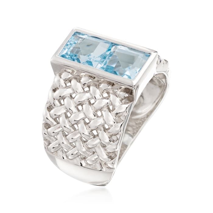 2.20 ct. t.w. Sky Blue Topaz Woven Ring in Sterling Silver