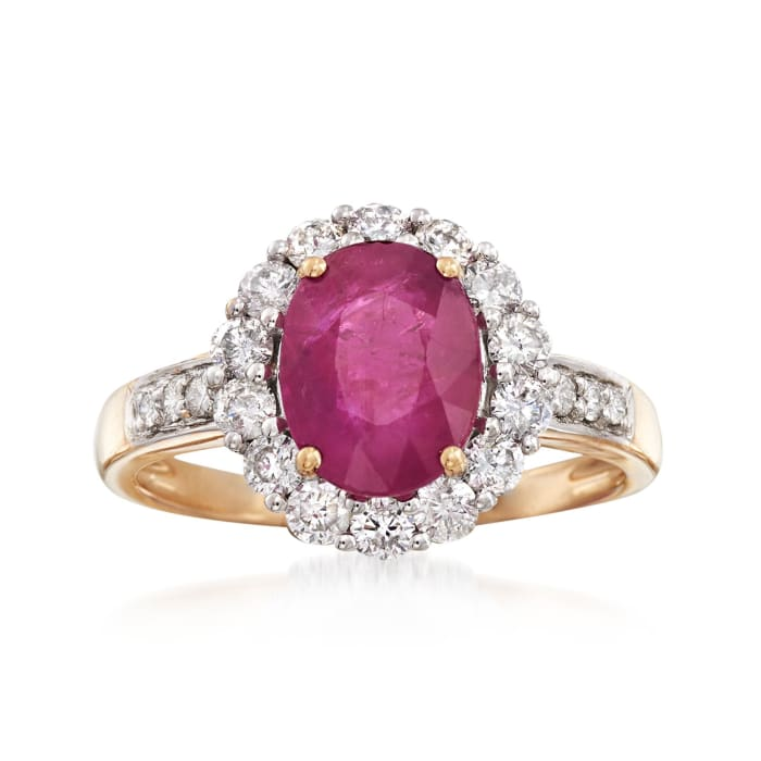 2.00 Carat Burmese Ruby and .64 ct. t.w. Diamond Ring in 18kt Yellow Gold