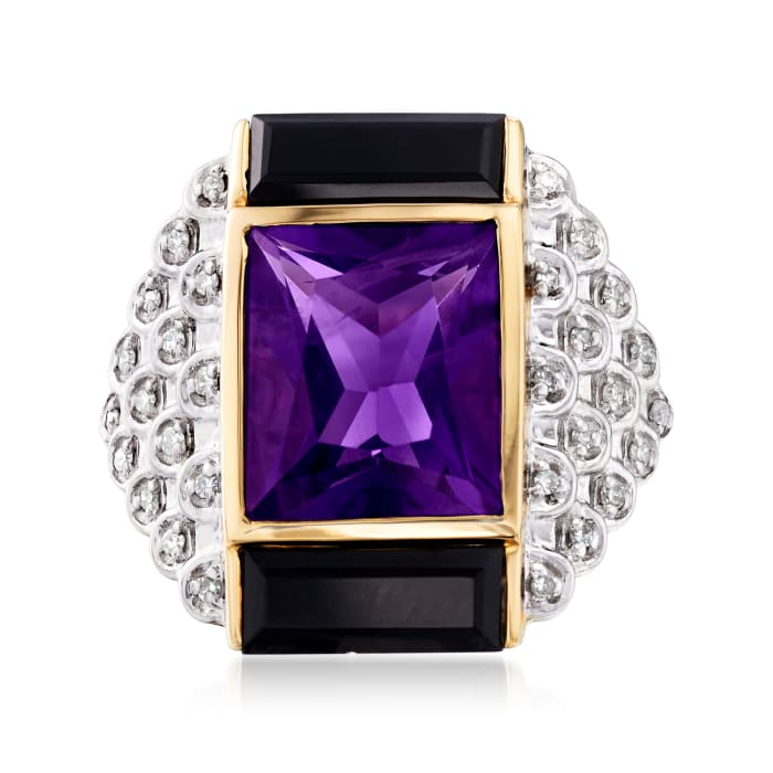 5.00 Carat Amethyst, .15 ct. t.w. Diamond and Black Onyx Ring in 14kt Yellow Gold