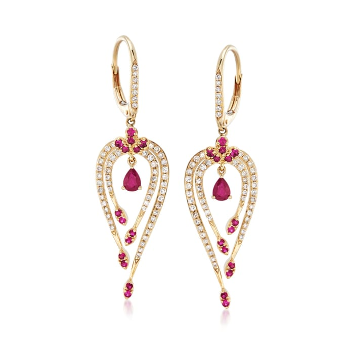 .50 ct. t.w. Ruby and .49 ct. t.w. Diamond Drop Earrings in 14kt Yellow Gold