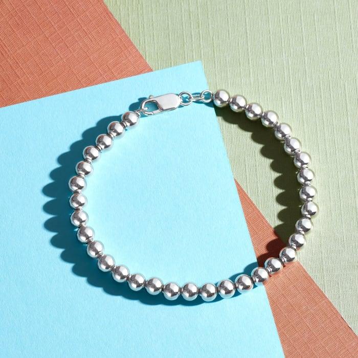 Italian 6mm Sterling Silver Polished Bead Bracelet