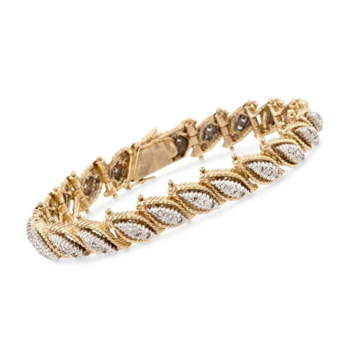 C. 1970 Vintage 2.00 ct. t.w. Diamond Leaves Bracelet in 18kt Two-Tone Gold