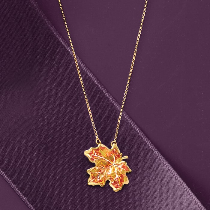 Italian Orange and Yellow Enamel Maple Leaf Necklace in 18kt Yellow Gold