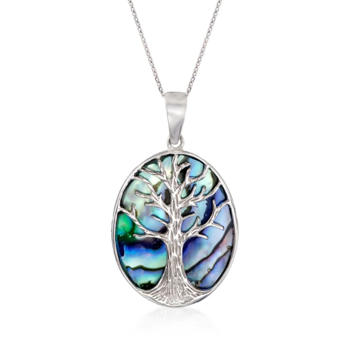 Abalone Shell Tree of Life Pendant Necklace in Sterling Silver