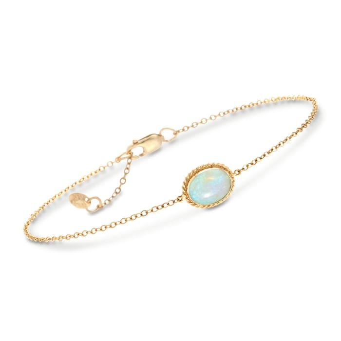 Oval Opal Roped Frame Bracelet in 14kt Yellow Gold