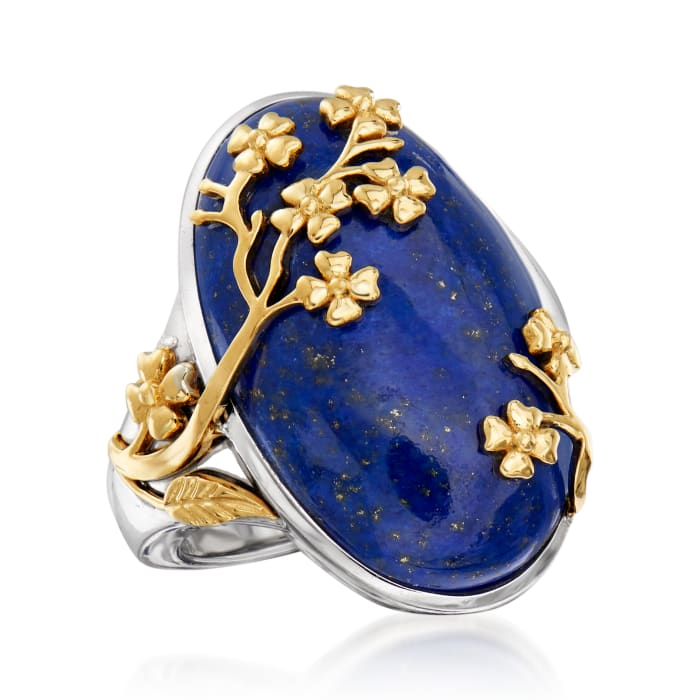 Lapis Floral Ring in Sterling Silver and 14kt Yellow Gold