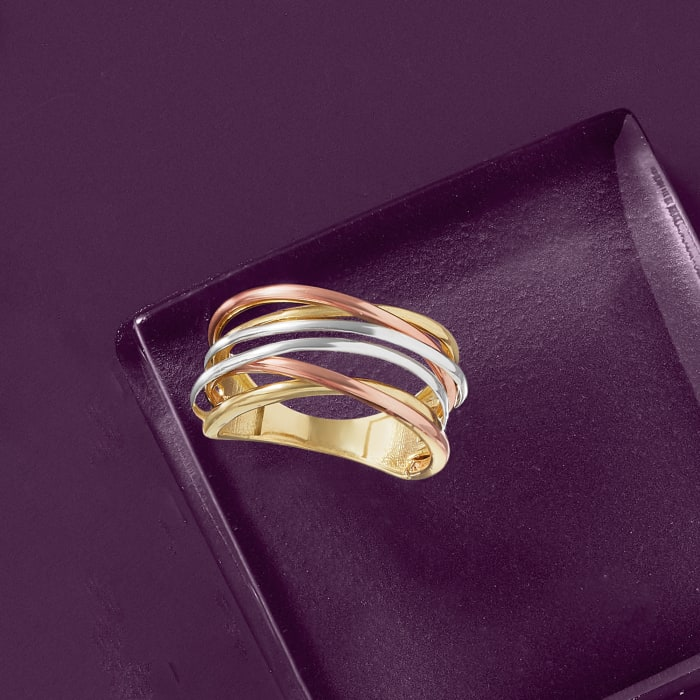 14kt Tri-Colored Gold Highway Ring