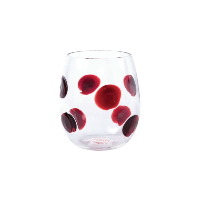 """Vietri """"Drop"""" Red Stemless Wine Glass from Italy"""