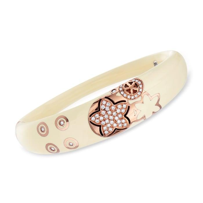 C. 1990 Vintage Nouvelle Bague .70 ct. t.w. Diamond Floral Bangle Bracelet in 18kt Rose Gold