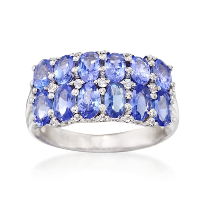 3.00 ct. t.w. Tanzanite and .15 ct. t.w. White Topaz Ring in Sterling Silver