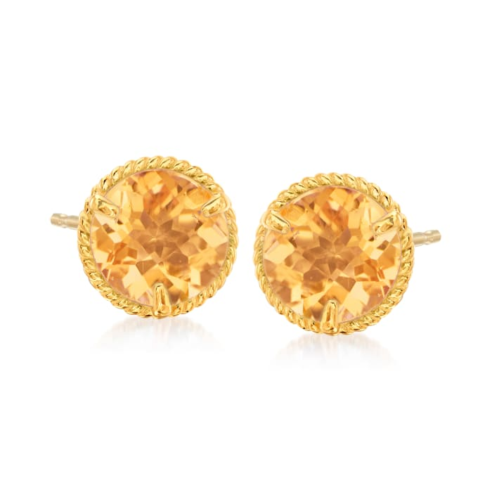 1.40 ct. t.w. Citrine Roped Halo Stud Earrings in 14kt Yellow Gold