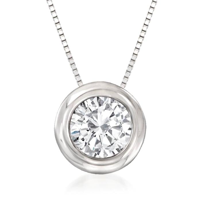 1.00 Carat Bezel-Set Diamond Solitaire Necklace in 14kt White Gold