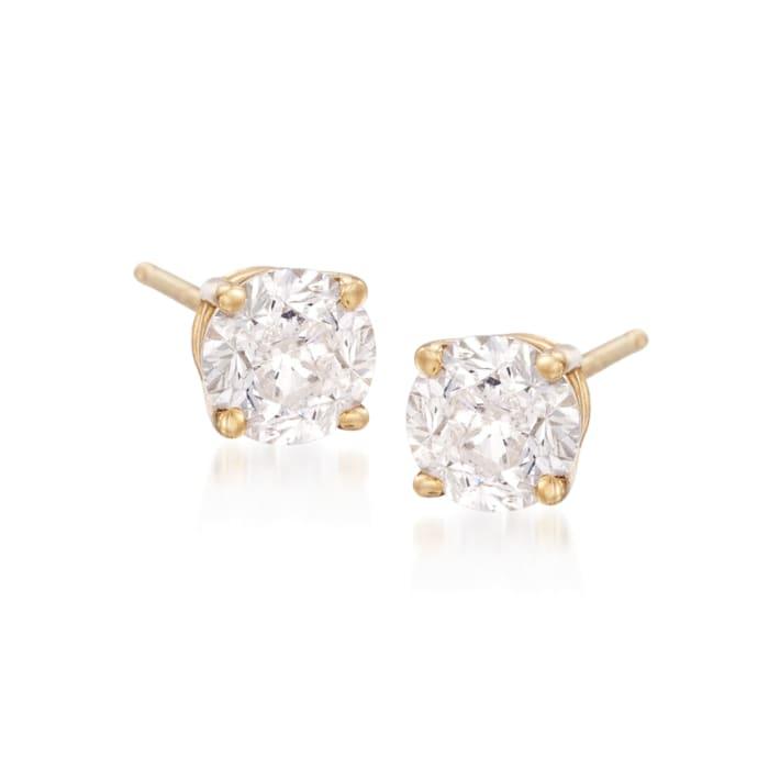2.00 ct. t.w. CZ Stud Earrings in 18kt Yellow Gold