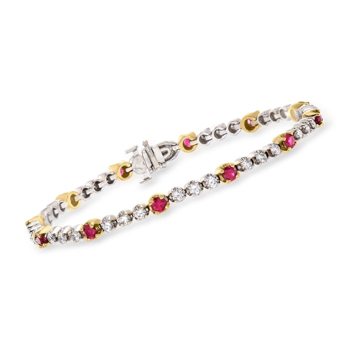 C. 1980 Vintage 2.00 ct. t.w. Diamond and 1.50 ct. t.w. Ruby Line Bracelet in 18kt Two-Tone Gold