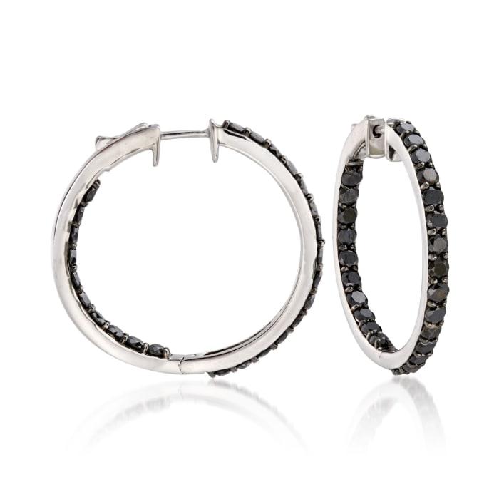 5.00 ct. t.w. Black Diamond Inside-Outside Hoop Earrings in Sterling Silver