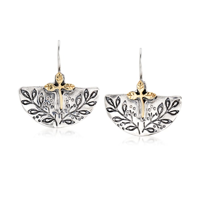 Sterling Silver and 14kt Yellow Gold Leaf Vine Earrings