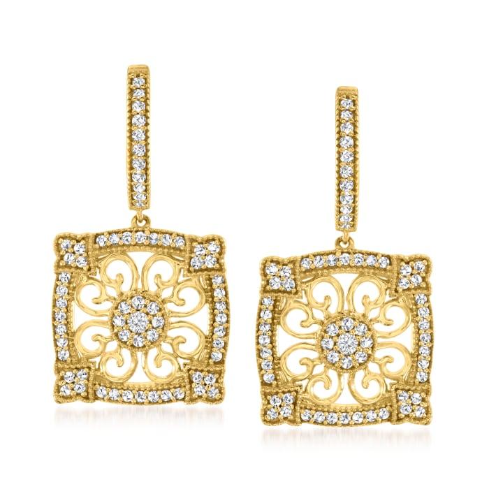 .66 ct. t.w. Diamond Vintage-Style Hoop Drop Earrings in 18kt Gold Over Sterling