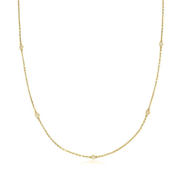 .25 ct. t.w. Bezel-Set Diamond Station Necklace in 18kt Gold Over Sterling
