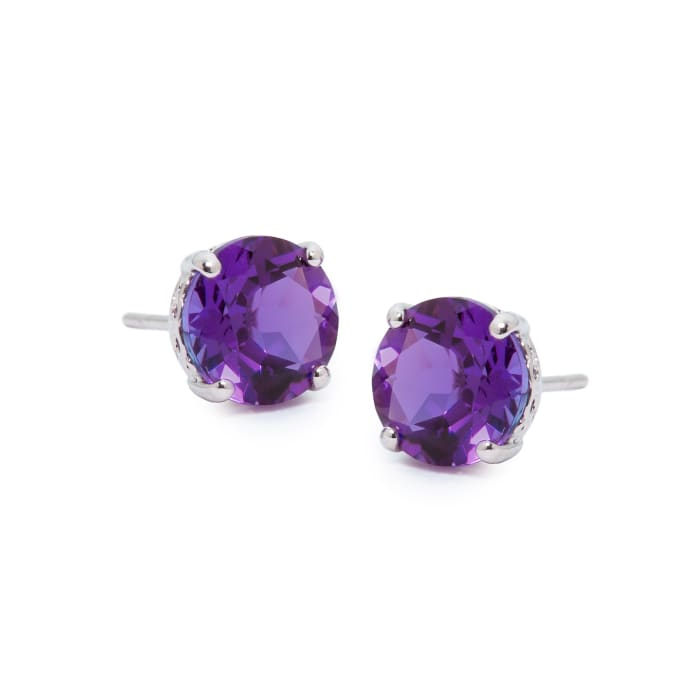 3.40 ct. t.w. Amethyst Studs in 14kt White Gold