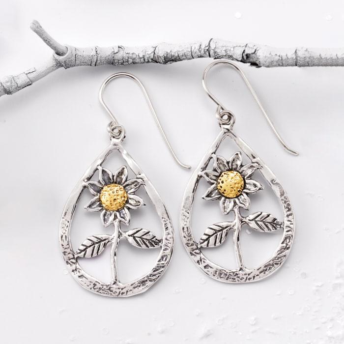 Sterling Silver Flower Openwork Teardrop Earrings with 14kt Yellow Gold