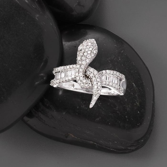 .64 ct. t.w. Diamond Snake Ring in 14kt White Gold