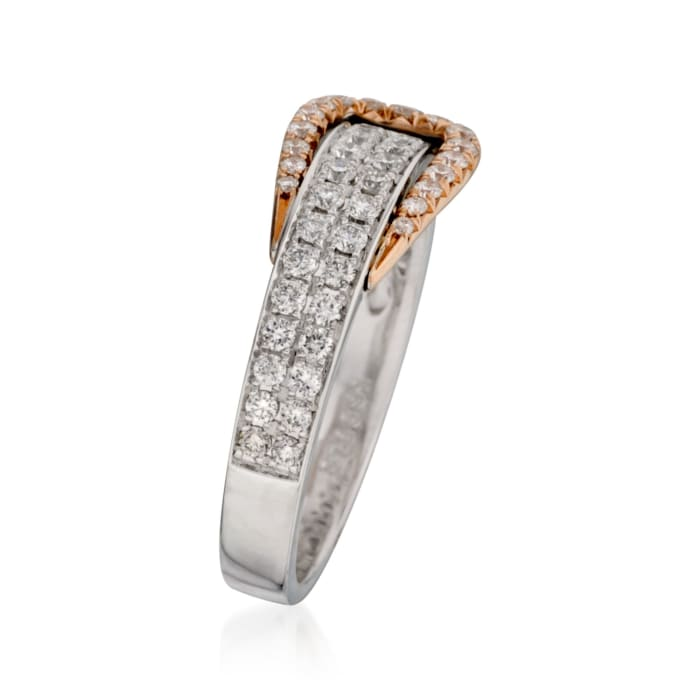 .60 ct. t.w. Diamond Buckle Ring in 18kt Two-Tone Gold