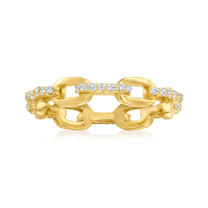 .30 ct. t.w. CZ Paper Clip Link Ring in 18kt Gold Over Sterling