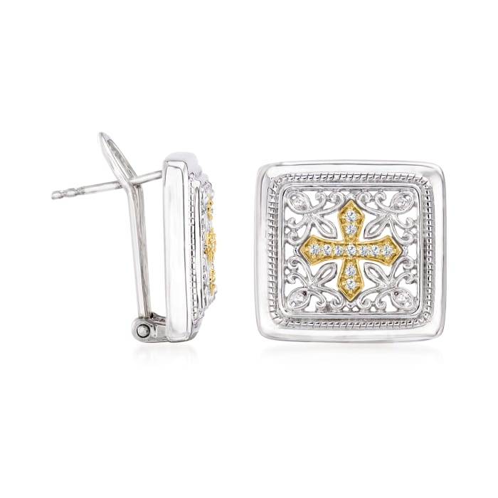 .10 ct. t.w. Diamond Cross Earrings in Sterling Silver and 14kt Yellow Gold