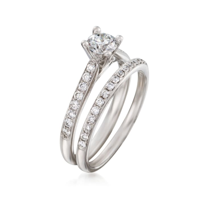 .84 ct. t.w. Diamond Bridal Set: Engagement and Wedding Rings in 14kt White Gold