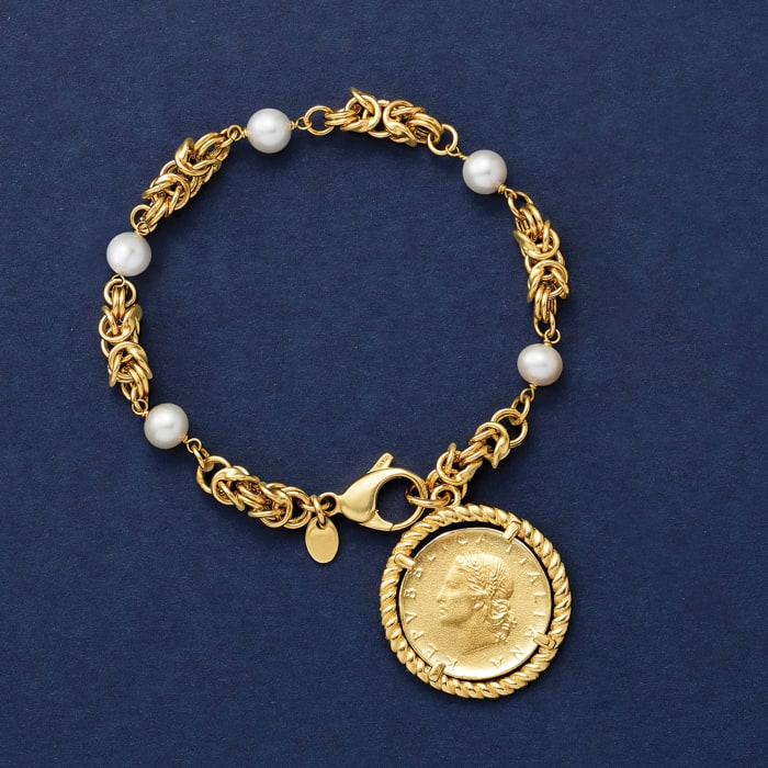 Italian 6mm Cultured Pearl and Replica Lira Coin Byzantine Bracelet in 18kt Gold Over Sterling
