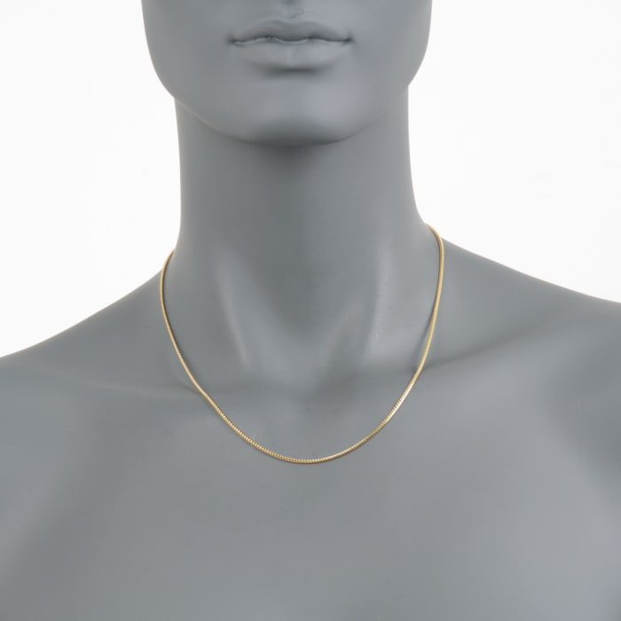 1.2mm 14kt Yellow Gold Franco Link Chain Necklace 18-inch