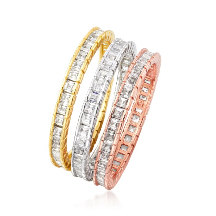 1.60 ct. t.w. CZ Jewelry Set: Three Rings in Rose and Yellow 18kt Gold Over Sterling and Sterling Silver