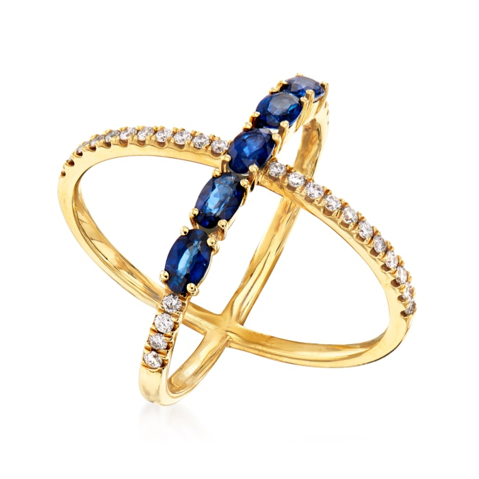 1.30 ct. t.w. Sapphire and .36 ct. t.w. Diamond Crisscross Ring in 14kt Yellow Gold