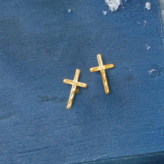 14kt Yellow Gold Cross Stud Earrings