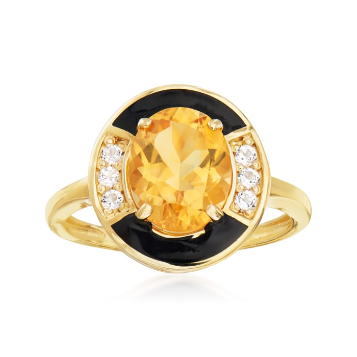 2.40 Carat Citrine and .10 ct. t.w. White Topaz Ring with Black Enamel in 14kt Yellow Gold