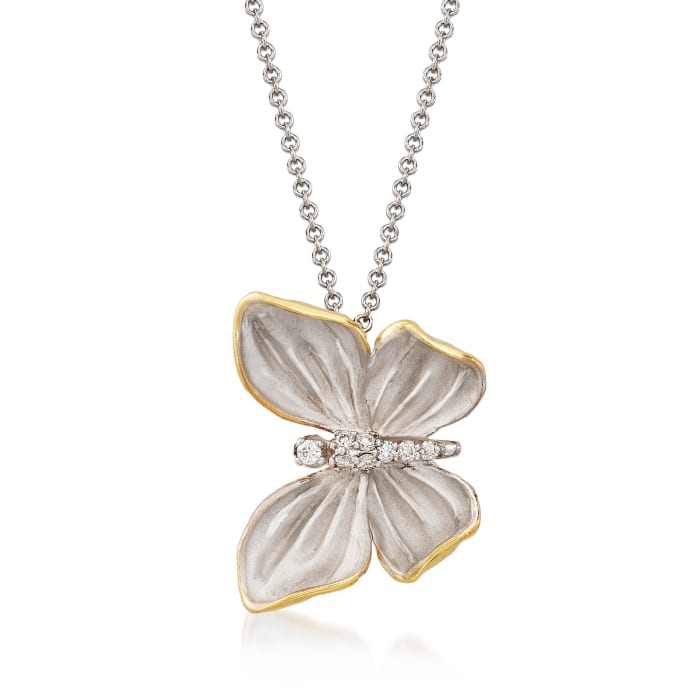 Simon G. 18kt Two-Tone Gold Butterfly Necklace with Diamond Accents