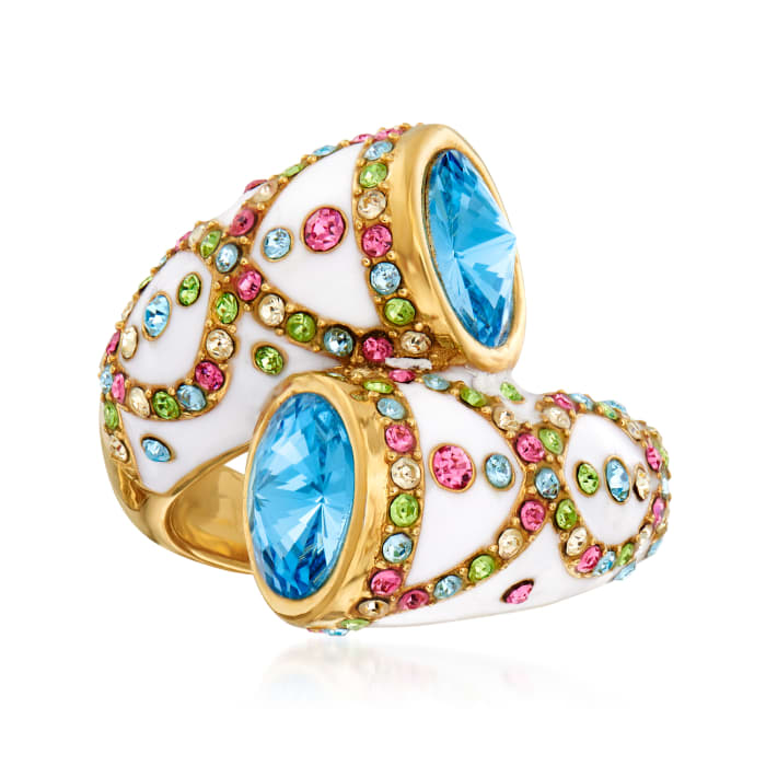 Multicolored Crystal and Blue Swarovski Crystal Ring with White Enamel in 18kt Gold Over Sterling